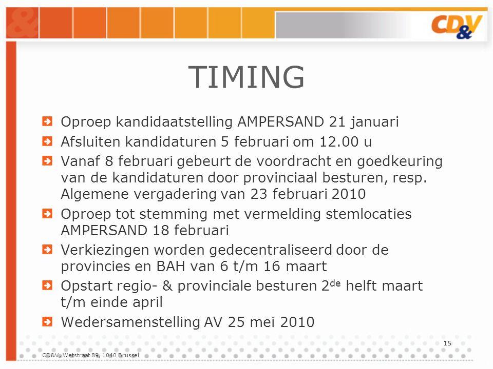 CD&V, Wetstraat 89, 1040 Brussel 15 TIMING Oproep kandidaatstelling AMPERSAND 21 januari Afsluiten kandidaturen 5 februari om 12.00 u Vanaf 8 februari gebeurt de voordracht en goedkeuring van de kandidaturen door provinciaal besturen, resp.