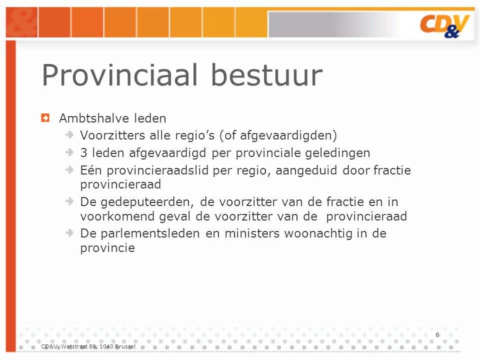 Provinciaal bestuur Met raadgevende stem : de provinciale secretaris beperkt aantal leden omwille van ervaring of deskundigheid.