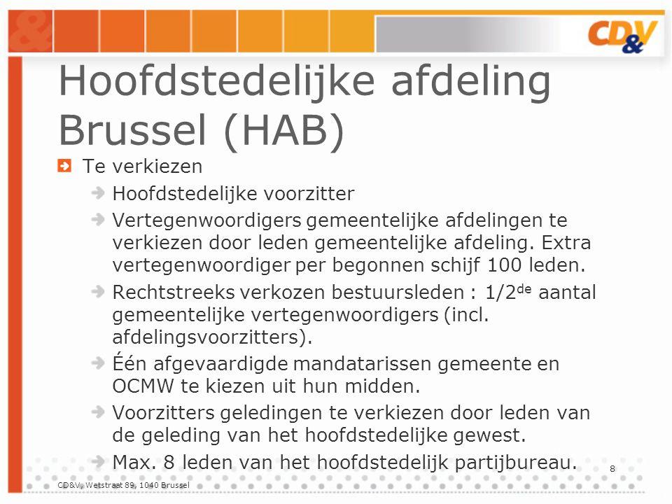 8 Hoofdstedelijke afdeling Brussel (HAB) Te verkiezen Hoofdstedelijke voorzitter Vertegenwoordigers gemeentelijke afdelingen te verkiezen door leden gemeentelijke afdeling.