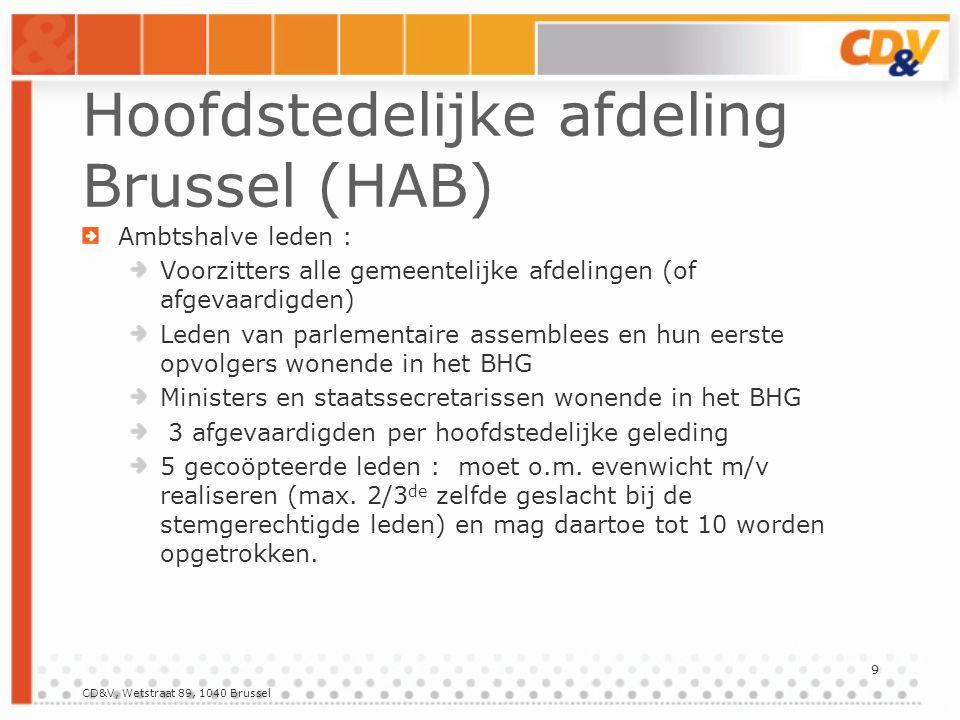 CD&V, Wetstraat 89, 1040 Brussel 9 Hoofdstedelijke afdeling Brussel (HAB) Ambtshalve leden : Voorzitters alle gemeentelijke afdelingen (of afgevaardigden) Leden van parlementaire assemblees en hun eerste opvolgers wonende in het BHG Ministers en staatssecretarissen wonende in het BHG 3 afgevaardigden per hoofdstedelijke geleding 5 gecoöpteerde leden : moet o.m.