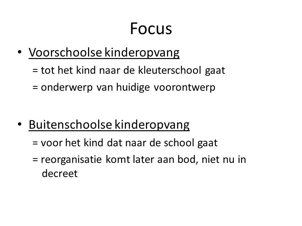 Focus Voorschoolse kinderopvang = tot het kind naar de kleuterschool gaat = onderwerp van huidige voorontwerp Buitenschoolse kinderopvang = voor het k