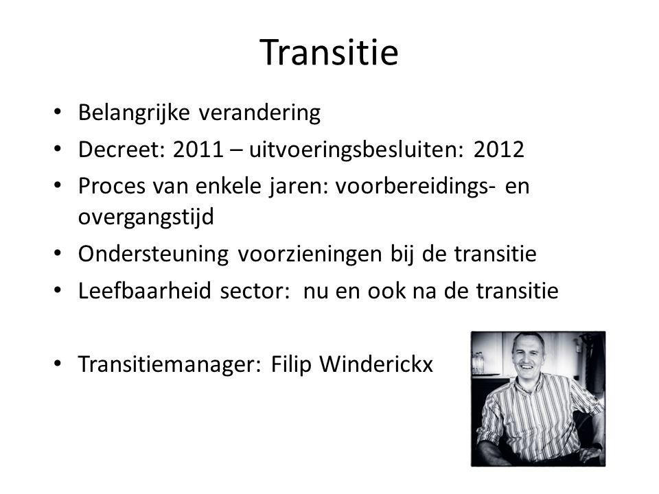 Transitie Belangrijke verandering Decreet: 2011 – uitvoeringsbesluiten: 2012 Proces van enkele jaren: voorbereidings- en overgangstijd Ondersteuning v