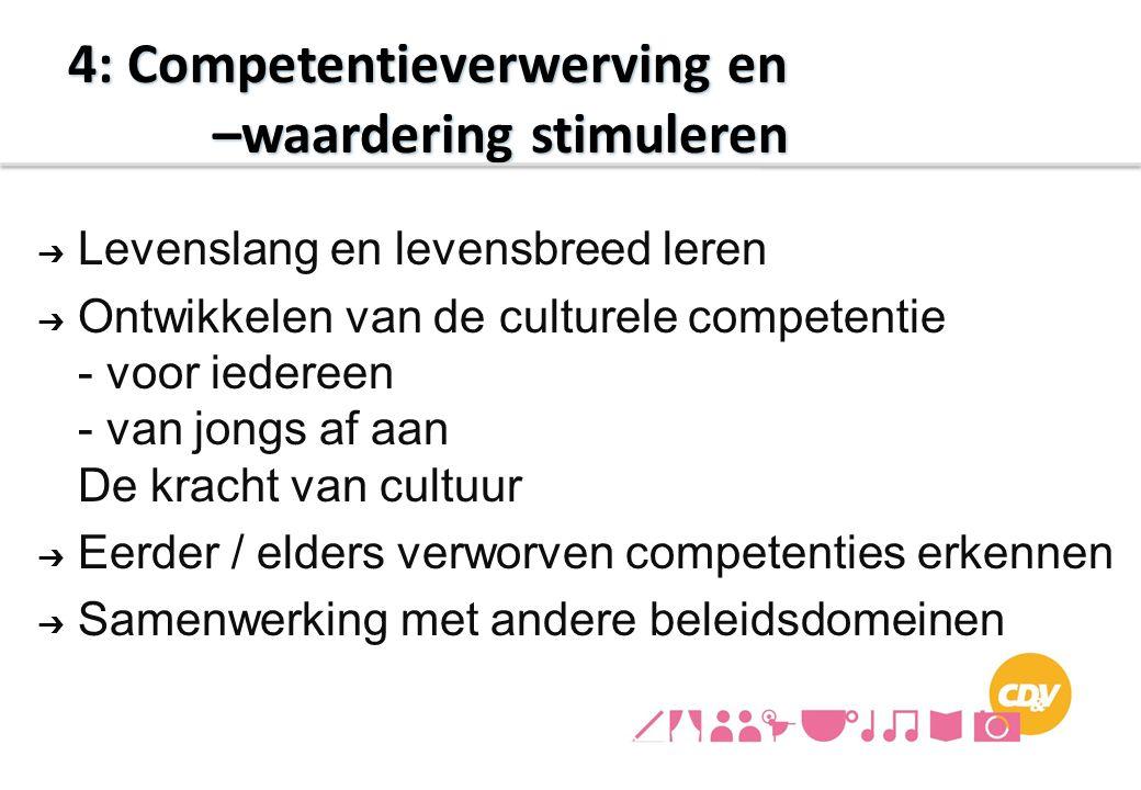 ➔ Levenslang en levensbreed leren ➔ Ontwikkelen van de culturele competentie - voor iedereen - van jongs af aan De kracht van cultuur ➔ Eerder / elder