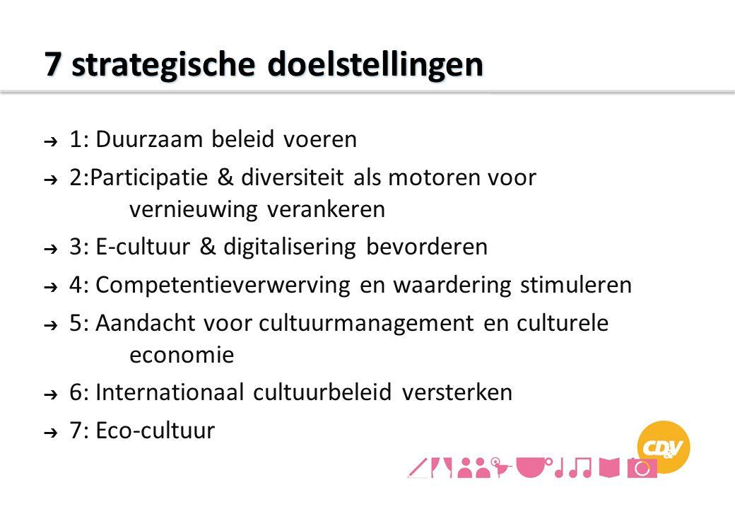 7 strategische doelstellingen ➔ 1: Duurzaam beleid voeren ➔ 2:Participatie & diversiteit als motoren voor vernieuwing verankeren ➔ 3: E-cultuur & digi