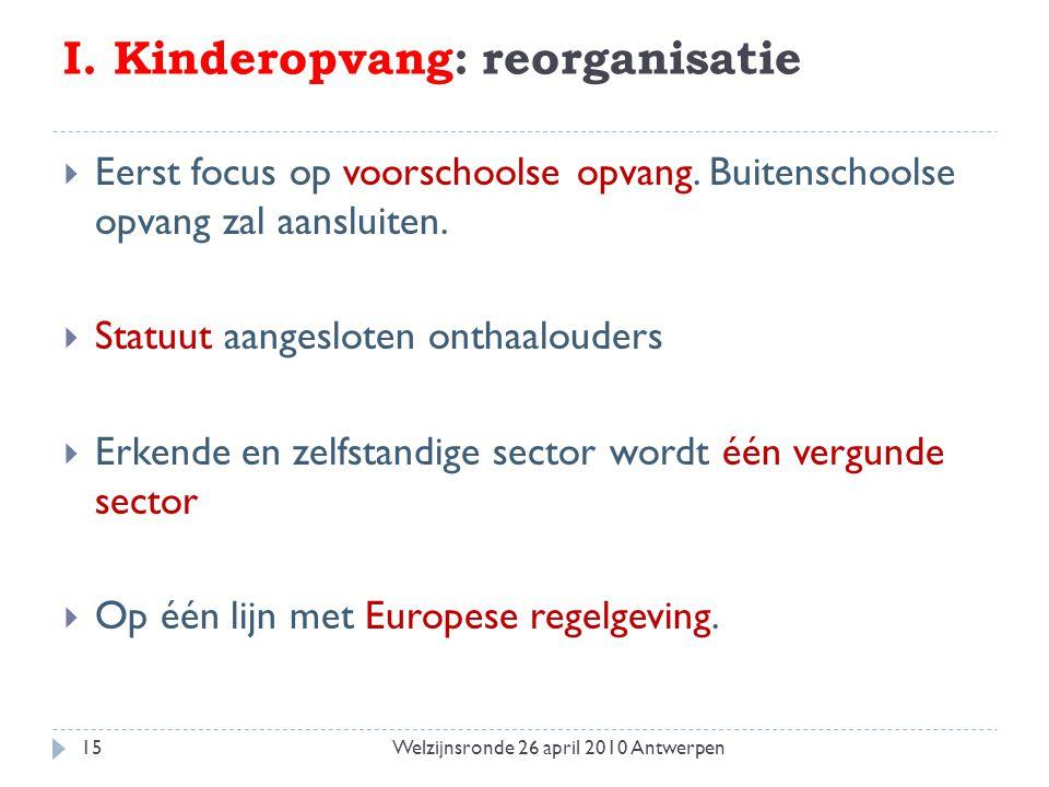 I. Kinderopvang: reorganisatie  Eerst focus op voorschoolse opvang. Buitenschoolse opvang zal aansluiten.  Statuut aangesloten onthaalouders  Erken