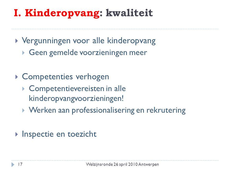 I. Kinderopvang: kwaliteit  Vergunningen voor alle kinderopvang  Geen gemelde voorzieningen meer  Competenties verhogen  Competentievereisten in a