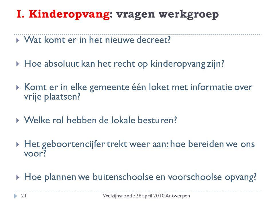I. Kinderopvang: vragen werkgroep  Wat komt er in het nieuwe decreet?  Hoe absoluut kan het recht op kinderopvang zijn?  Komt er in elke gemeente é