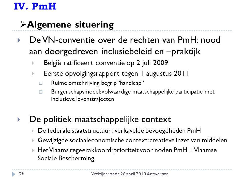 IV. PmH  De VN-conventie over de rechten van PmH: nood aan doorgedreven inclusiebeleid en –praktijk  België ratificeert conventie op 2 juli 2009  E
