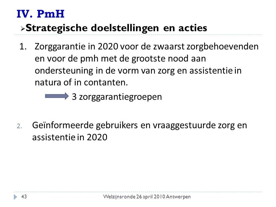 IV. PmH 1. Zorggarantie in 2020 voor de zwaarst zorgbehoevenden en voor de pmh met de grootste nood aan ondersteuning in de vorm van zorg en assistent