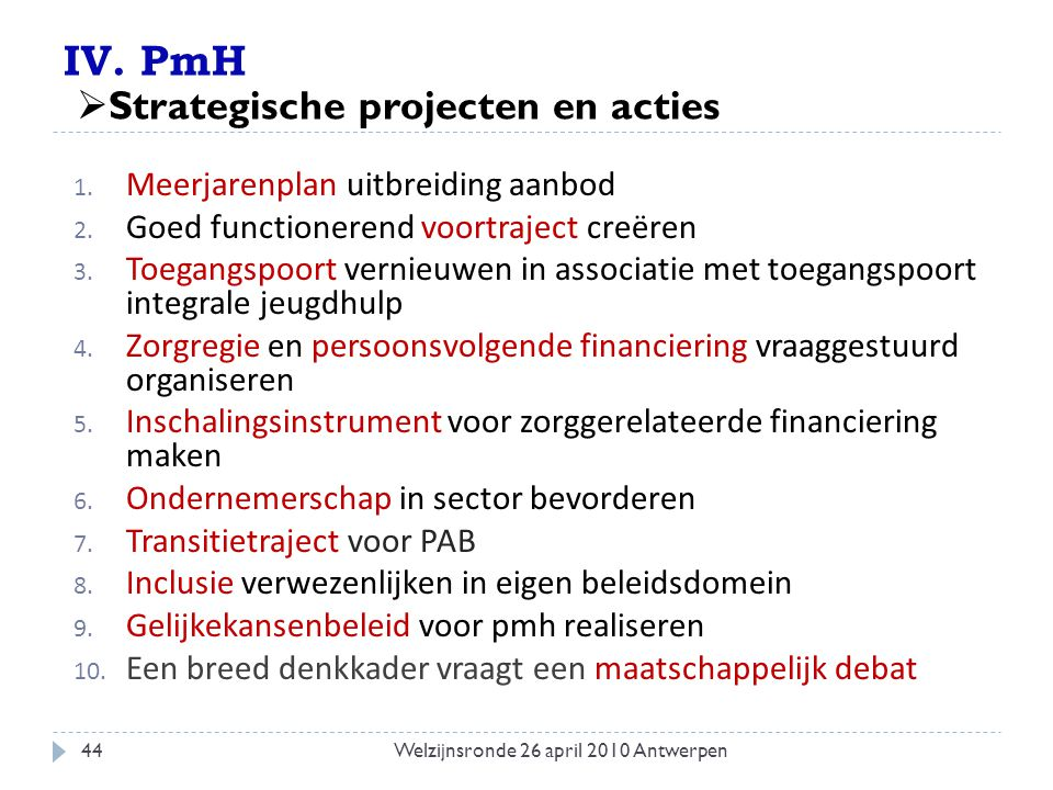 IV. PmH 1. Meerjarenplan uitbreiding aanbod 2. Goed functionerend voortraject creëren 3. Toegangspoort vernieuwen in associatie met toegangspoort inte