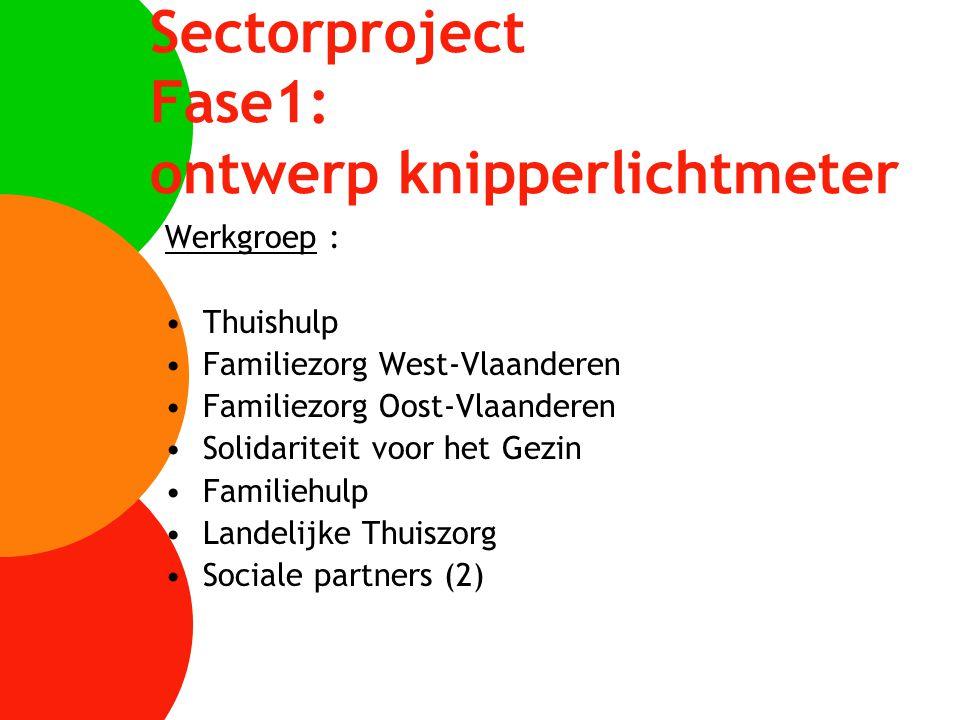 Sectorproject Fase1: ontwerp knipperlichtmeter Werkgroep : Thuishulp Familiezorg West-Vlaanderen Familiezorg Oost-Vlaanderen Solidariteit voor het Gez