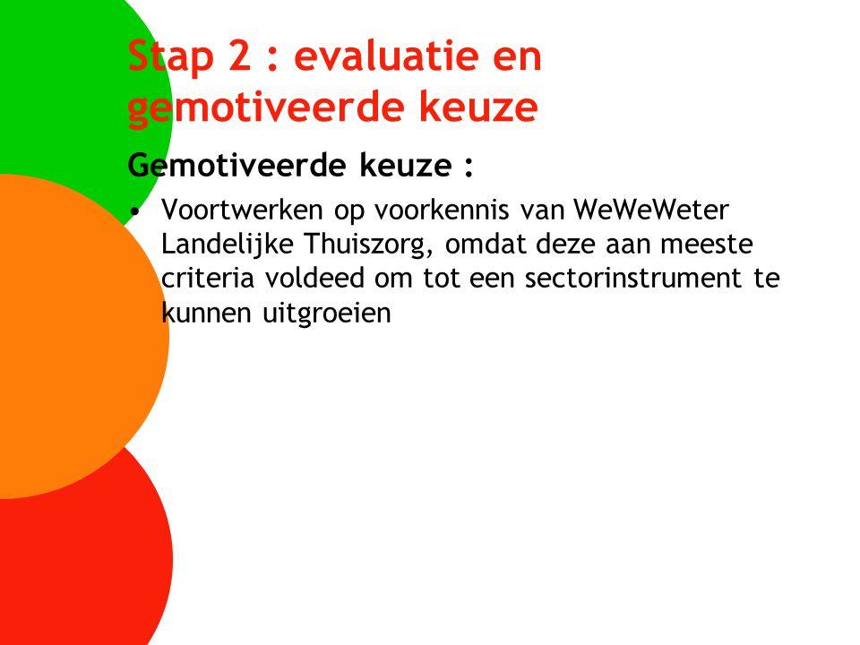 Stap 2 : evaluatie en gemotiveerde keuze Gemotiveerde keuze : Voortwerken op voorkennis van WeWeWeter Landelijke Thuiszorg, omdat deze aan meeste crit