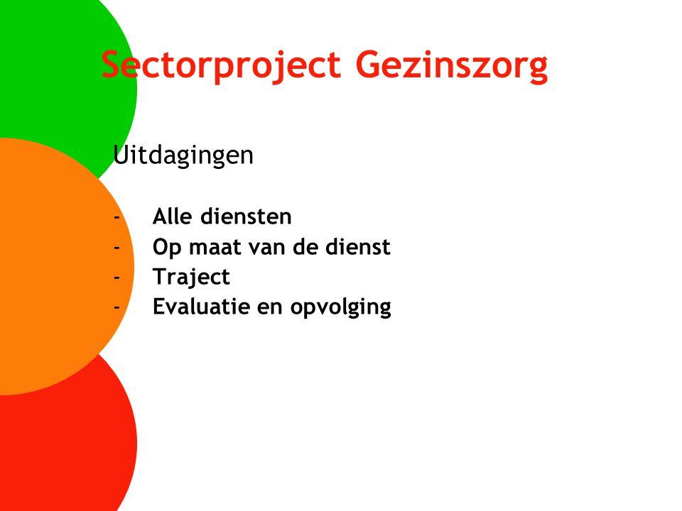 Sectorproject Gezinszorg Uitdagingen -Alle diensten -Op maat van de dienst -Traject -Evaluatie en opvolging