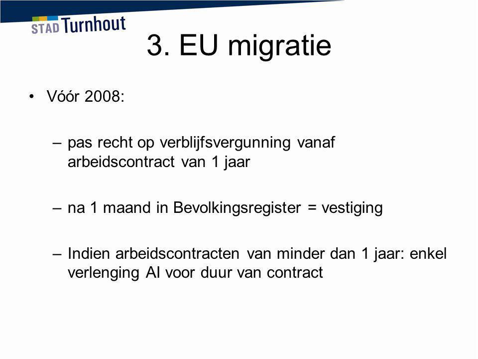 3. EU migratie Vóór 2008: –pas recht op verblijfsvergunning vanaf arbeidscontract van 1 jaar –na 1 maand in Bevolkingsregister = vestiging –Indien arb