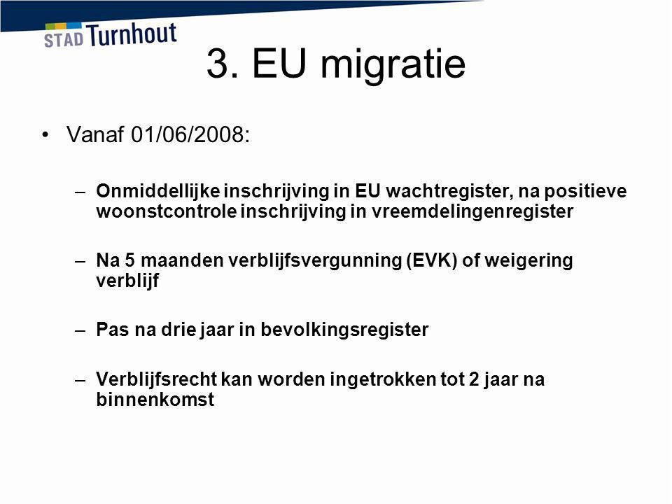3. EU migratie Vanaf 01/06/2008: –Onmiddellijke inschrijving in EU wachtregister, na positieve woonstcontrole inschrijving in vreemdelingenregister –N