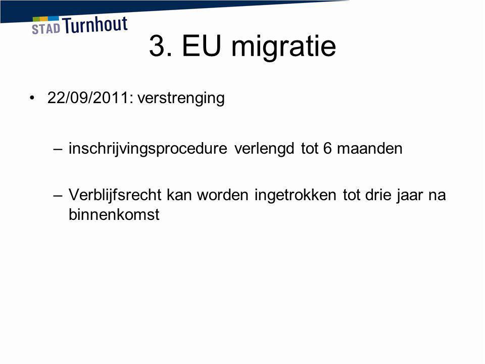 3. EU migratie 22/09/2011: verstrenging –inschrijvingsprocedure verlengd tot 6 maanden –Verblijfsrecht kan worden ingetrokken tot drie jaar na binnenk
