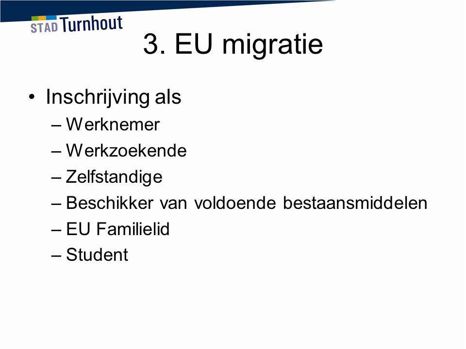 3. EU migratie Inschrijving als –Werknemer –Werkzoekende –Zelfstandige –Beschikker van voldoende bestaansmiddelen –EU Familielid –Student