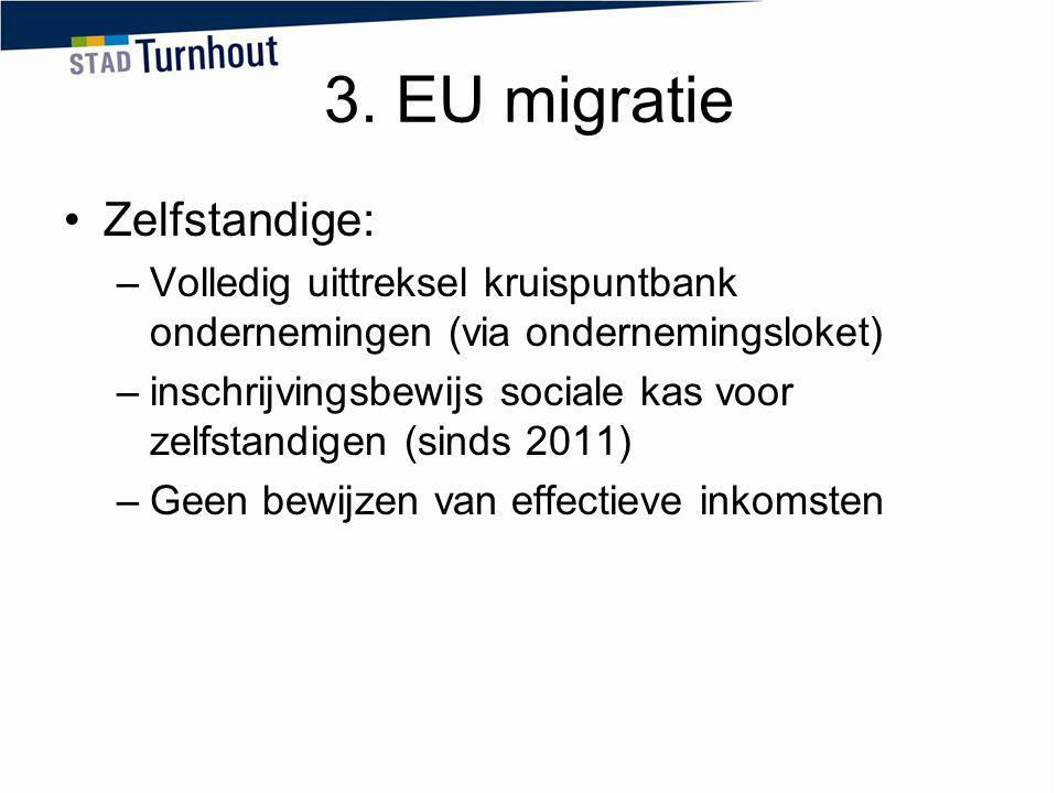 3. EU migratie Zelfstandige: –Volledig uittreksel kruispuntbank ondernemingen (via ondernemingsloket) –inschrijvingsbewijs sociale kas voor zelfstandi