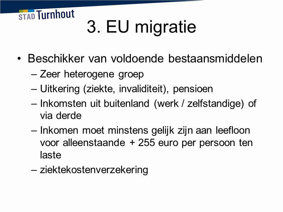 3. EU migratie Beschikker van voldoende bestaansmiddelen –Zeer heterogene groep –Uitkering (ziekte, invaliditeit), pensioen –Inkomsten uit buitenland
