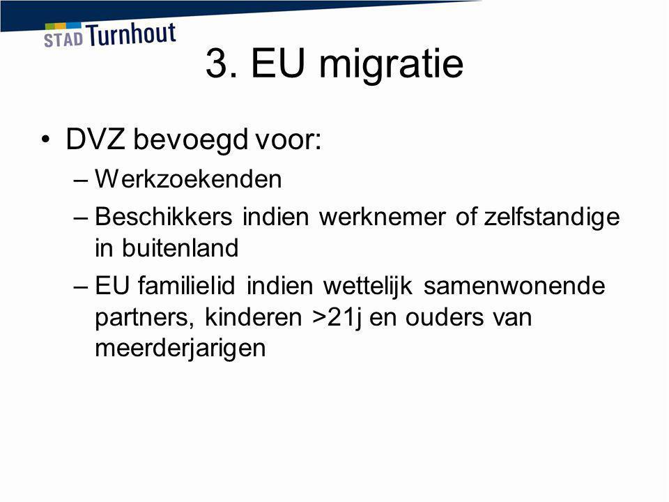 3. EU migratie DVZ bevoegd voor: –Werkzoekenden –Beschikkers indien werknemer of zelfstandige in buitenland –EU familielid indien wettelijk samenwonen