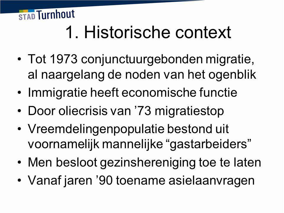 Tot 1973 conjunctuurgebonden migratie, al naargelang de noden van het ogenblik Immigratie heeft economische functie Door oliecrisis van '73 migratiest