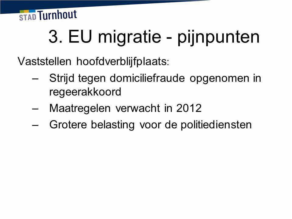 3. EU migratie - pijnpunten Vaststellen hoofdverblijfplaats : –Strijd tegen domiciliefraude opgenomen in regeerakkoord –Maatregelen verwacht in 2012 –