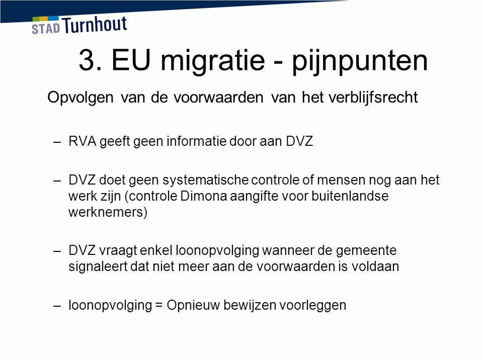 3. EU migratie - pijnpunten Opvolgen van de voorwaarden van het verblijfsrecht –RVA geeft geen informatie door aan DVZ –DVZ doet geen systematische co