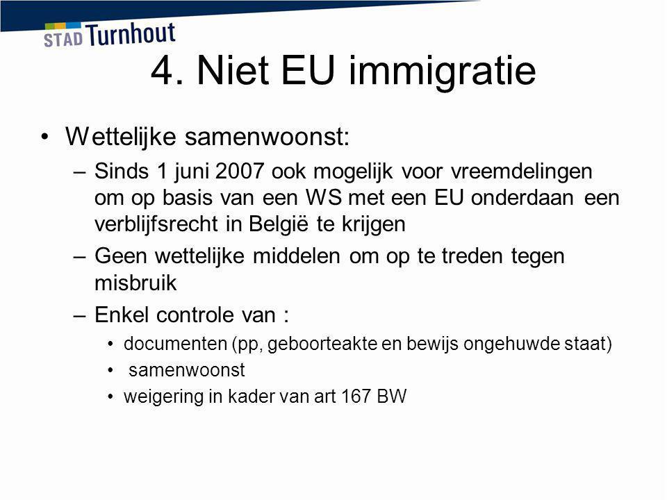 4. Niet EU immigratie Wettelijke samenwoonst: –Sinds 1 juni 2007 ook mogelijk voor vreemdelingen om op basis van een WS met een EU onderdaan een verbl