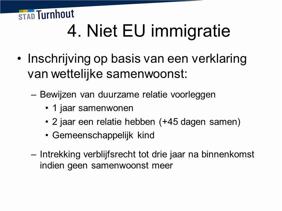 4. Niet EU immigratie Inschrijving op basis van een verklaring van wettelijke samenwoonst: –Bewijzen van duurzame relatie voorleggen 1 jaar samenwonen