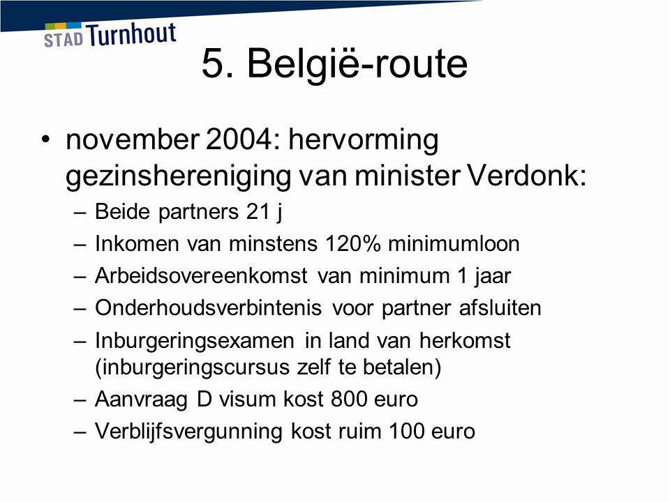 5. België-route november 2004: hervorming gezinshereniging van minister Verdonk: –Beide partners 21 j –Inkomen van minstens 120% minimumloon –Arbeidso