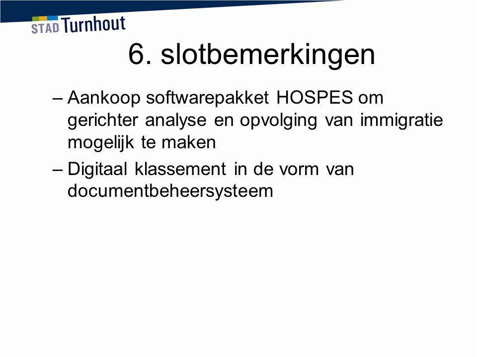 6. slotbemerkingen –Aankoop softwarepakket HOSPES om gerichter analyse en opvolging van immigratie mogelijk te maken –Digitaal klassement in de vorm v