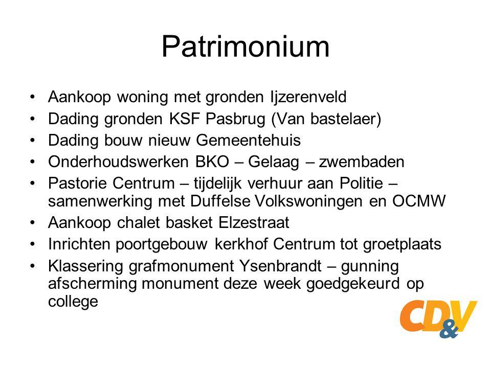 Patrimonium Aankoop woning met gronden Ijzerenveld Dading gronden KSF Pasbrug (Van bastelaer) Dading bouw nieuw Gemeentehuis Onderhoudswerken BKO – Ge