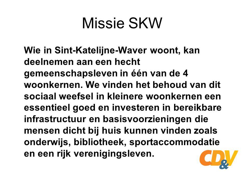 Missie SKW We hechten veel belang aan het residentieel karakter van onze gemeente, we willen echter ook ruimte scheppen voor bedrijven en handelaars zonder te raken aan het residentieel karakter.