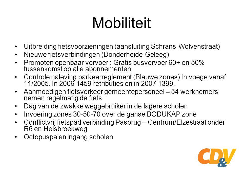 Mobiliteit Uitbreiding fietsvoorzieningen (aansluiting Schrans-Wolvenstraat) Nieuwe fietsverbindingen (Donderheide-Geleeg) Promoten openbaar vervoer :
