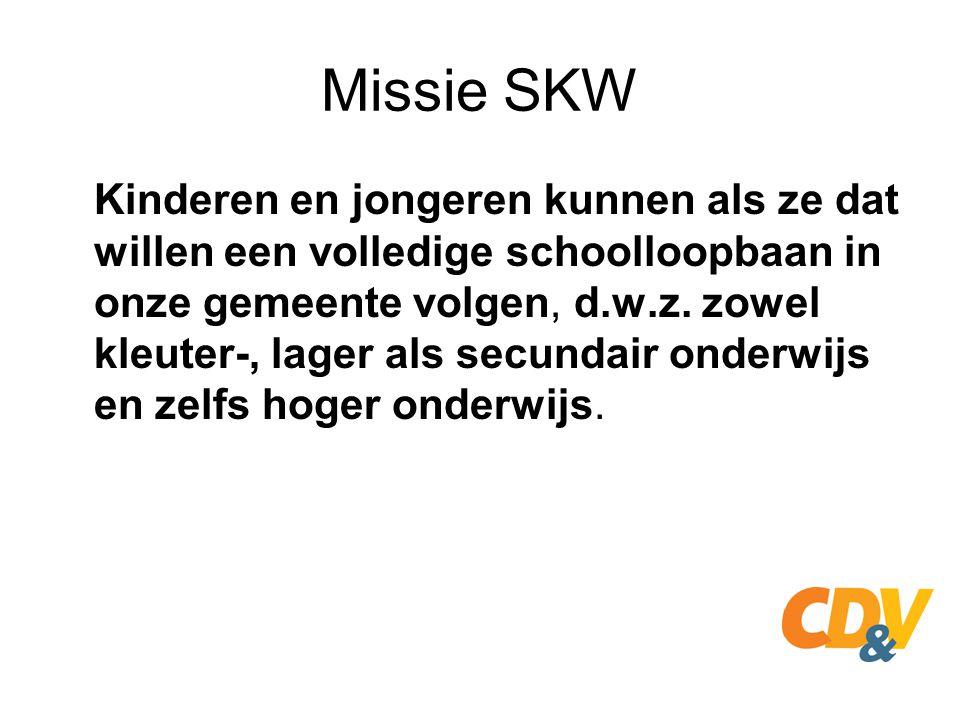 Missie SKW Kinderen en jongeren kunnen als ze dat willen een volledige schoolloopbaan in onze gemeente volgen, d.w.z. zowel kleuter-, lager als secund