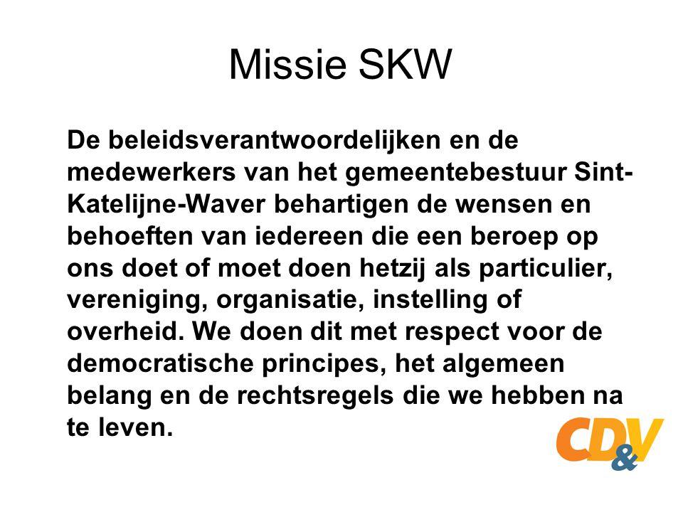 Missie SKW Wij geloven in de maatschappelijke opdracht die we te vervullen hebben en zijn trots op de positieve bijdrage die we kunnen leveren voor de leefomgeving, het samenleven, het werken en het welzijn in en van de gemeente Sint-Katelijne-Waver.