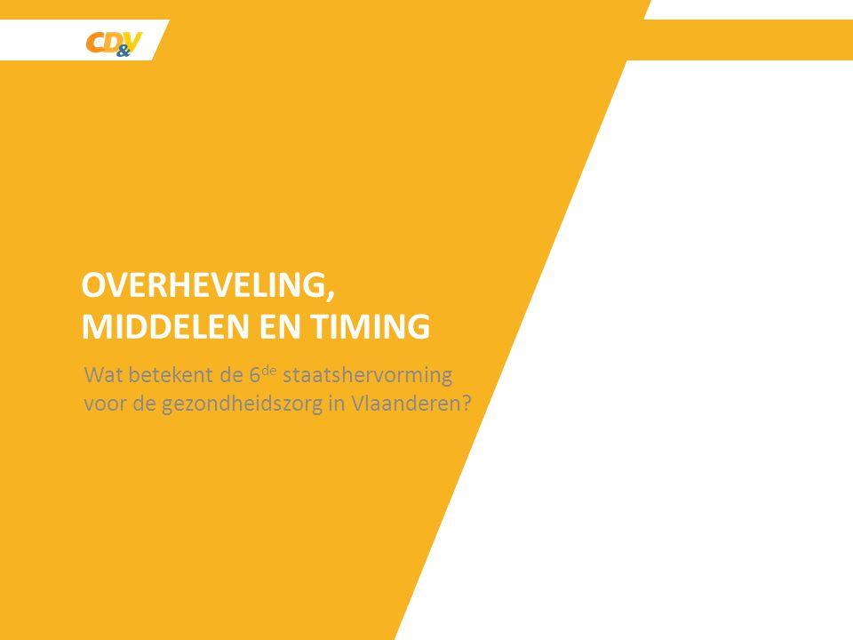 OVERHEVELING, MIDDELEN EN TIMING Wat betekent de 6 de staatshervorming voor de gezondheidszorg in Vlaanderen?