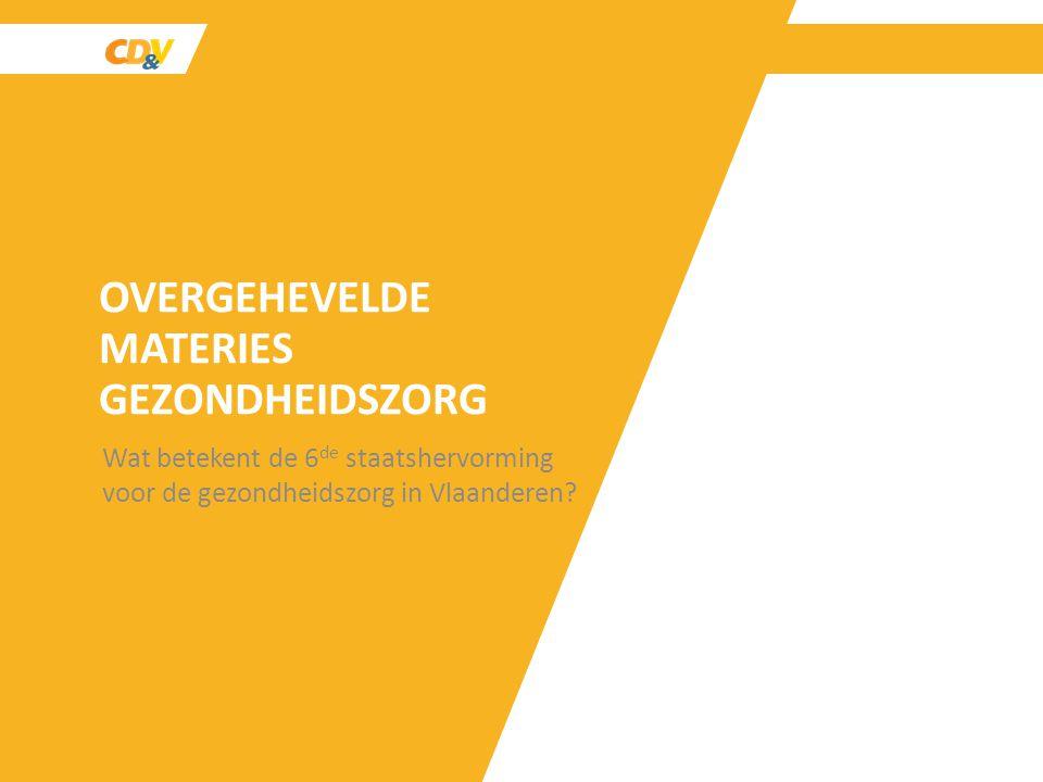 OVERGEHEVELDE MATERIES GEZONDHEIDSZORG Wat betekent de 6 de staatshervorming voor de gezondheidszorg in Vlaanderen?