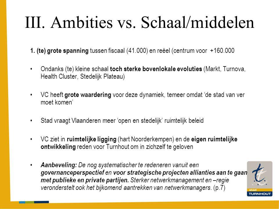 III. Ambities vs. Schaal/middelen 1.