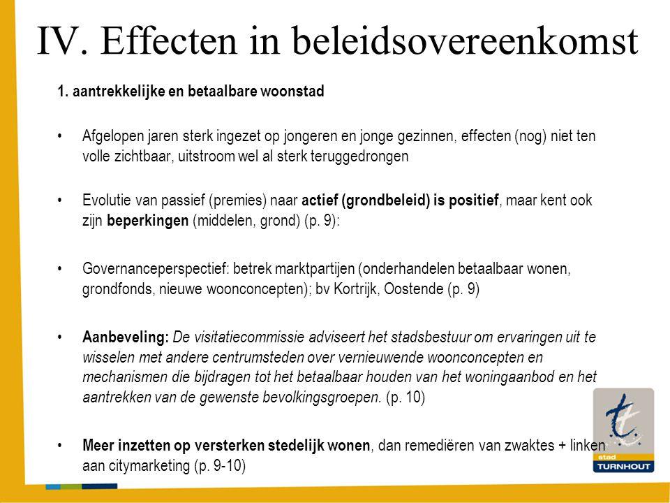 IV. Effecten in beleidsovereenkomst 1.