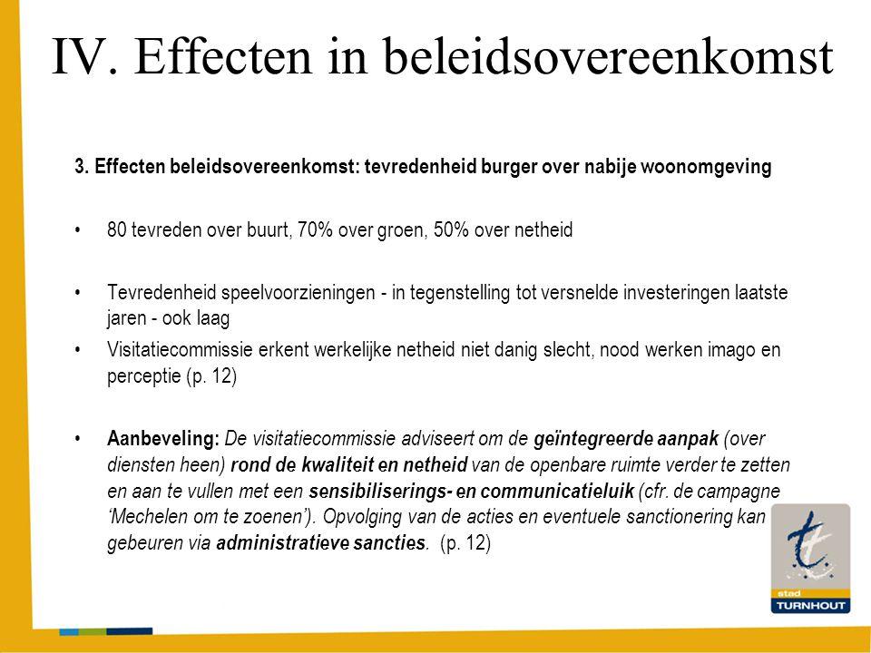 IV. Effecten in beleidsovereenkomst 3.