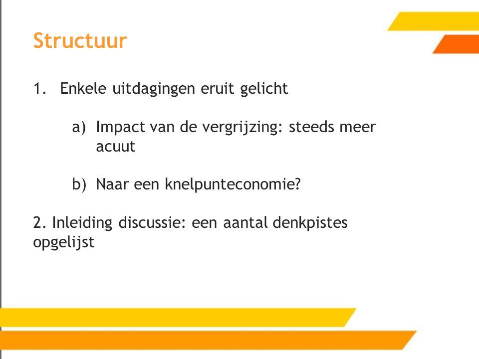 Structuur 1.Enkele uitdagingen eruit gelicht a)Impact van de vergrijzing: steeds meer acuut b)Naar een knelpunteconomie? 2. Inleiding discussie: een a