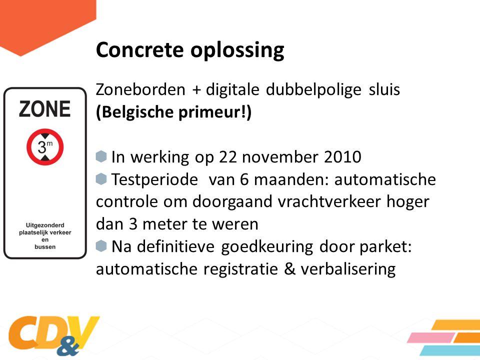 Concrete oplossing Zoneborden + digitale dubbelpolige sluis (Belgische primeur!) In werking op 22 november 2010 Testperiode van 6 maanden: automatisch