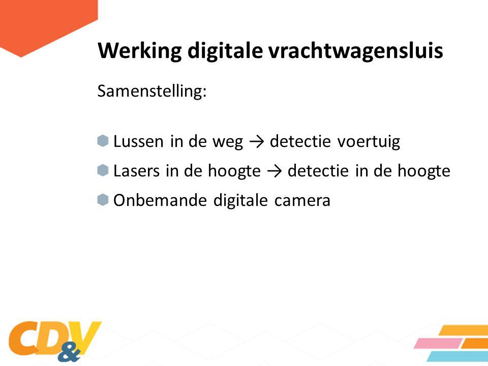 Samenstelling: Lussen in de weg → detectie voertuig Lasers in de hoogte → detectie in de hoogte Onbemande digitale camera