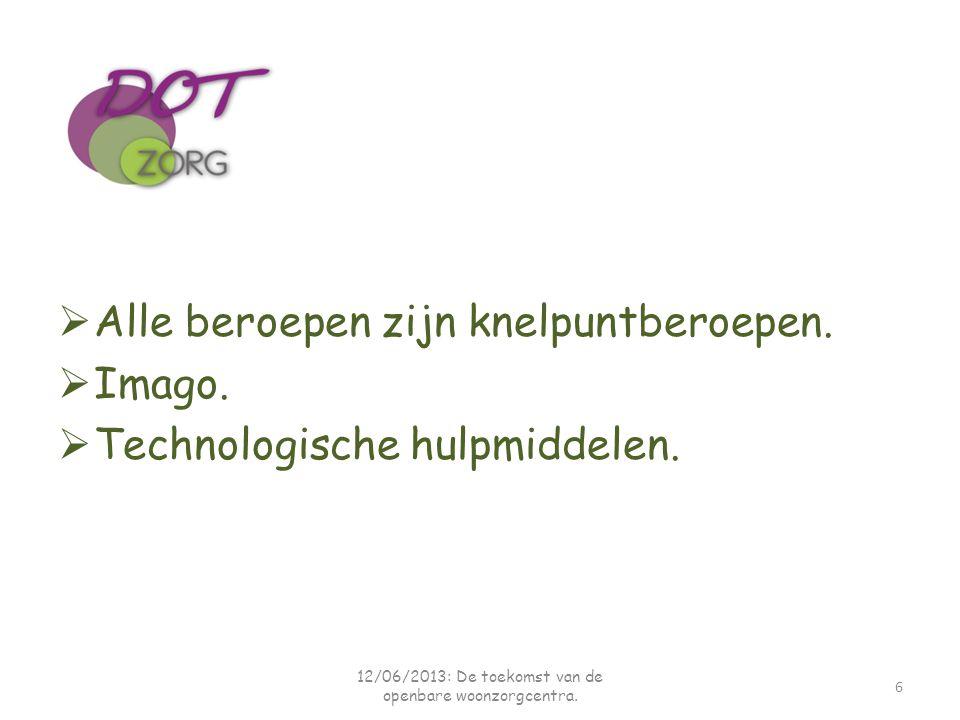  Alle beroepen zijn knelpuntberoepen.  Imago.  Technologische hulpmiddelen. 6 12/06/2013: De toekomst van de openbare woonzorgcentra.