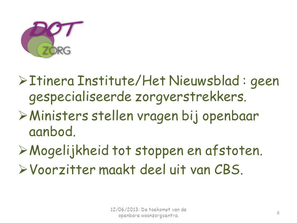  Itinera Institute/Het Nieuwsblad : geen gespecialiseerde zorgverstrekkers.  Ministers stellen vragen bij openbaar aanbod.  Mogelijkheid tot stoppe