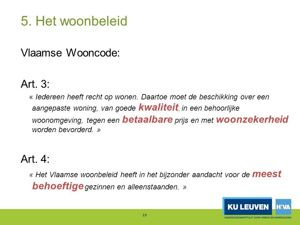 5. Het woonbeleid 19 Vlaamse Wooncode: Art. 3: « Iedereen heeft recht op wonen.