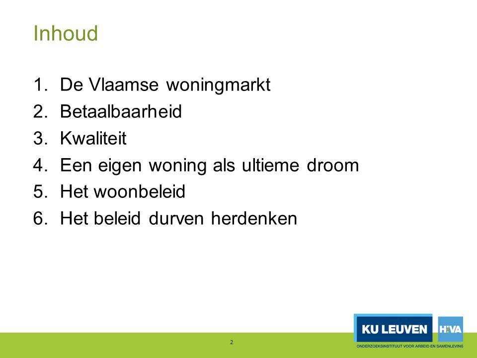 Inhoud 1.De Vlaamse woningmarkt 2.Betaalbaarheid 3.Kwaliteit 4.Een eigen woning als ultieme droom 5.Het woonbeleid 6.Het beleid durven herdenken 2