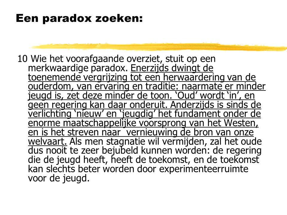 Een paradox zoeken: 10 Wie het voorafgaande overziet, stuit op een merkwaardige paradox.