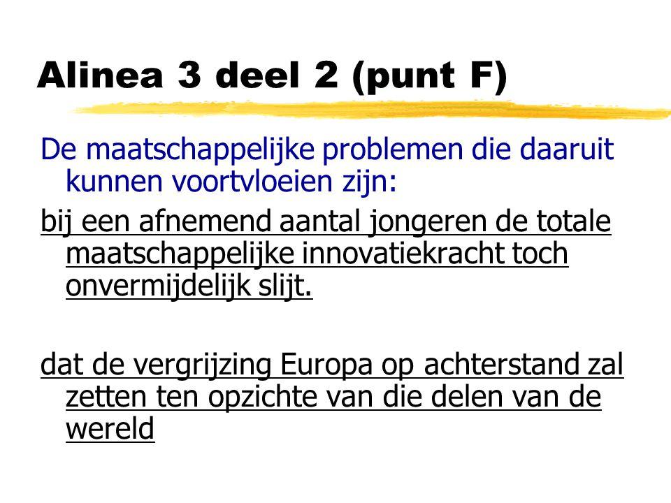 Alinea 3 deel 2 (punt F) De maatschappelijke problemen die daaruit kunnen voortvloeien zijn: bij een afnemend aantal jongeren de totale maatschappelijke innovatiekracht toch onvermijdelijk slijt.